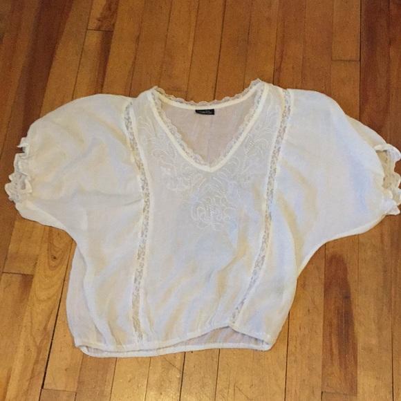 Summer lace bohemian white blouse